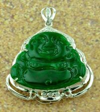 18k Solid White gold Natural Grade A Jade happy Fat Buddha Diamond Pendant lucky