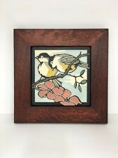 Motawi Spring Chickadees Art Tile Family Woodworks Oak Park Arts & Crafts Frame