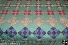110x96 Machine pieced hand quilted 100% cotton 1980's quilt bed cover new