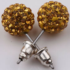 1Pair Women Girl Sparkle Round Crystal Disco Ball CZ Beads Stud Earring For Gift