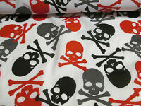 White Gothic/Punk/Pirate  Skulls/Skull & Crossbones Print Polycotton Fabric