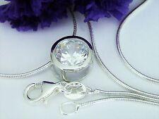 Collier Solitär Anhänger mit Kette 925 Silber Zirkonia 9mm Halskette Silberkette