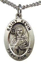 """Saint Kevin Oval Sterling Silver 7/8"""" Medal w/ 20"""" Chain Boxed Made in USA"""