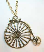 FUN! Large Openwork Shiny Old Fashioned Brasstone Bicycle Bike Necklace