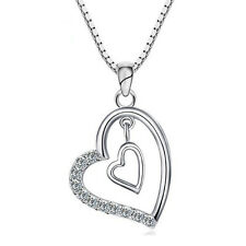 """925 Sterling Silver Twin Heart Charm Pendant Necklace 18"""" Chain Womens Jewellery"""