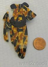 LEA STEIN PARIS RIC AIREDALE TERRIER DOG PIN torty black mosaic pattern