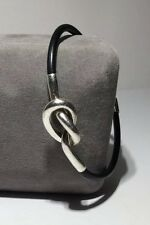 """Designer MB Black Rubber Knotted 925 Sterling Silver Bracelet 7 3/4"""" 12.2g"""