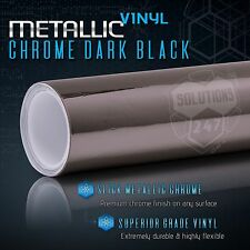 "Dark Black Chrome Mirror Vinyl Wrap Film Bubble Free - 60"" x 72"" In / 5FT x 6FT"