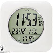 AMS 5930 Tischuhr/Wanduhr Funk Kunststoffgehäuse weiß digitale Anzeige