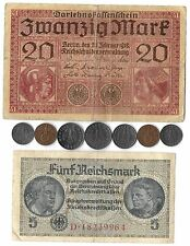 Rare Old Antique WWI WWII WW2 Nazi Germany War Swastika Coin Note Collection Lot