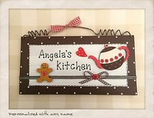 Kitchen Sign PERSONALISED WITH ANY NAME Wood Hanging Plaque Picture HANDMADE :)