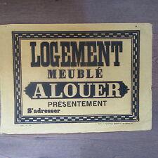 AFFICHE ANCIENNE 1810 LOGEMENT MEUBLE A LOUER MAISON IMMOBILIER IMPRIMERIE