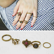 5pcs/Set Gold  Women Punk Vintage Knuckle Tribal Ethnic Hippie Stone Joint Ring