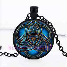 Blue celtic triquetra Glass Black Pendant Necklace for men woman jewelry