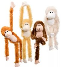 "14"" PLUSH HANGING MONKEYS HUGGING HANDS Stuffed Animal Red ,Brown, Cream Or Gold"