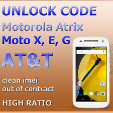 AT&T Unlock Code ALL Motorola Atrix 2 4G HD Moto X G E Clean Imei, Out Contract