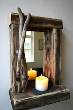 Rustic reclaimed Driftwood Farmhose Mirror with shelf unique  Gift