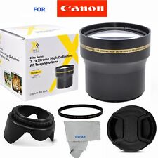 3.7X TELEPHOTO ZOOM LENS+UV+LENS CAP + HOOD FOR CANON EOS REBEL T3 T3I 1300D T4