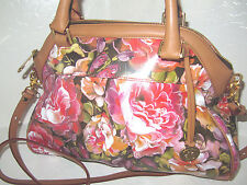 New Brahmin Louise Rose Hemingway Dome Leather Pink Floral Satchel Bag NWT $345