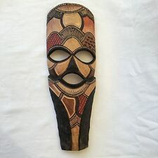 """Large WOOD AFRICAN MASK - HAND-CARVED in SWAZILAND - SWAZI WARRIOR - 20.5"""""""