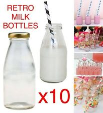 10X PACK 250ml Retro School MINI MILK Glass Bottles Lids HOME DECOR PARTY