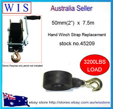 """50mm(2"""") x7.5m Boat Trailer Hand Winch Strap Replacement Up to 3200LB Load-45209"""