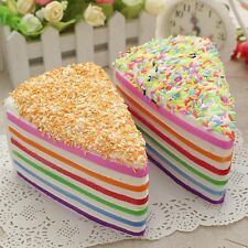 Creative Jumbo Soft Fake Cake Squishy Rainbow Cake Phone Straps Decoration US