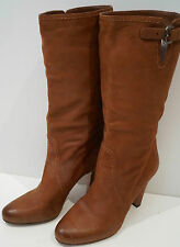 PRADA Tan Soft Leather Calf High Buckle Detail Block Heel Boots EU39 UK6 NEW!
