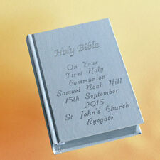 WHITE Communion gift bible -Personalised on front & back cover, boxed.