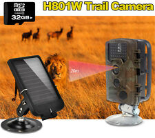 32GB Trail Camera Outdoor Waterproof Security Motion Activated IR+Solar Panel