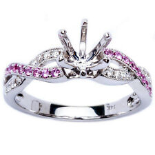 .23ct Genuine Pink Sapphire & Diamond Twisted Prong Semi Mount Engagement Ring