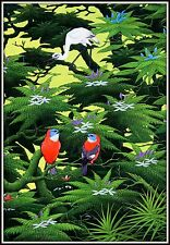 "Detailed Balinese Painting ""Egret with Two Birds in the Jungle""   Delightful !"