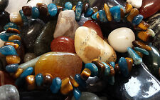 BLUE APATITE & TIGER EYE CHIP BEAD BRACELET - APPETITE SUPRESSION, OBSESSIONS