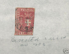 Sardinia stamp Italy states stamp 1855 40c bisected used as 20c SB2