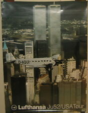 Vintage LUFTHANSA Junkers D-AQUI JU 52 USA Tour TWIN TOWERS New York City Poster