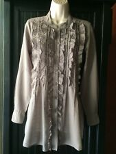 Left of Center Women's Sz XS Gray 100% Cotton Long Sleeve Tunic Top Ruffled
