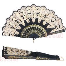 Black Fan Spanish Style Dance Party Wedding Lace Silk Folding Hand Held Flower