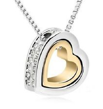 Valentine's Day Gift 18K Gold Plated Double Heart Pendant Necklace W Crystals
