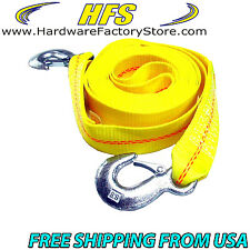 4.5 Ton 2 Inch x 30 Ft. Polyester Tow Strap Rope 2 Hooks 9000lb Towing Recovery