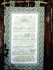 PATTERN - Garden Sampler Greenwork - stitchery PATTERN only - Bird Brain designs