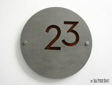 Modern House Numbers , Round Concrete with Wood - Sign Plaque - Door Number