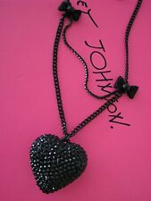 BETSEY JOHNSON JET SET BLACK PLATED CRYSTAL HEART LONG PENDANT NECKLACE~NWT