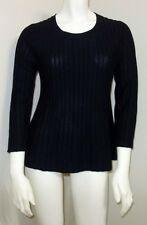 NWT Banana Republic Small 4 6 100% Merino Wool Pintuck Sweater Black 3/4 Sleeve
