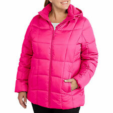 New Faded Glory Women's Plus Size 3x 22w-24w Puffer Pink Magenta Hooded Coat NWT