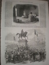 Inauguration of statue King Leopold I at Antwerp Belgium 1868 old print ref W1