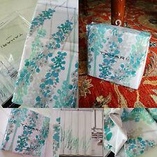 Tahari Shower Curtain Lupine floral aqua teal-blue gray soft green white PERFECT