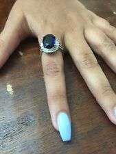 Avon 125th Anniversary 8K Lab Sapphire And CZ's Beautiful Ring 6 3/4 CRT