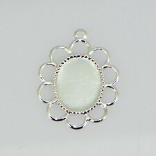 10x8 Oval Silver Plated Filigree Design Cabochon (Cab) Drop Setting (2pc)