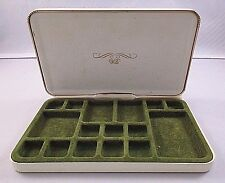Vintage Wells Earport Earring Jewelry Textured Travel Case With Gold Tone Trim