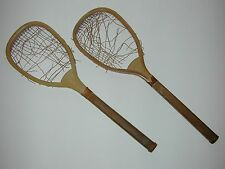 "R. Bliss Flat Top Antique Vintage Lawn Tennis Racquets - 25"" long - c1882 - Pair"